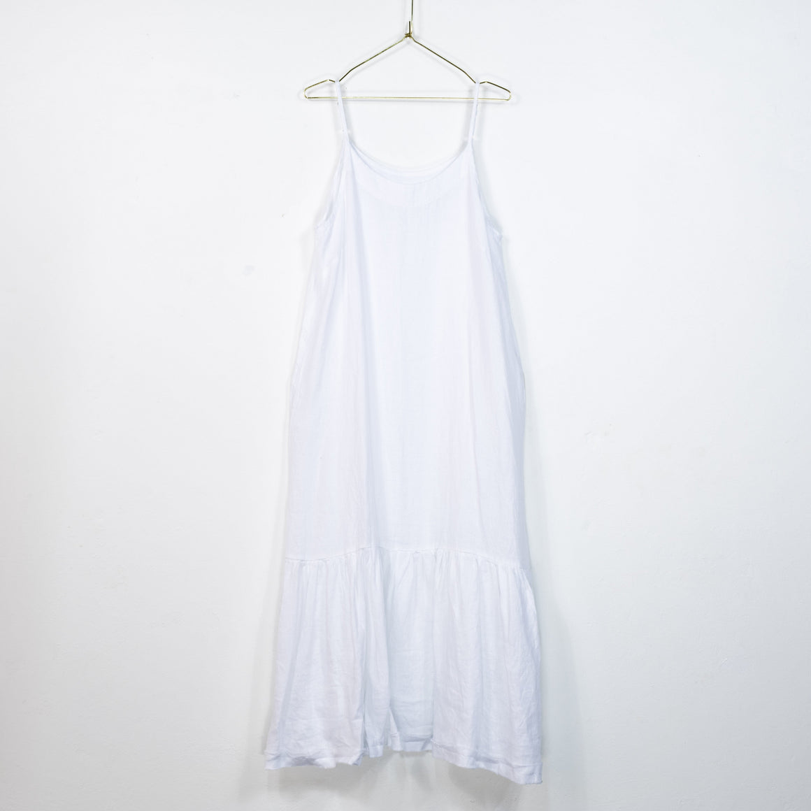 Longline Linen Maxi Dress with Frayed Edge (White)