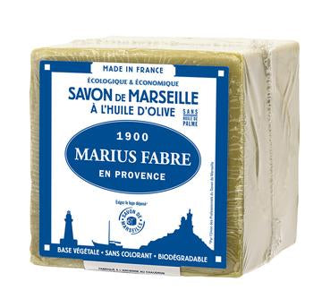 French Olive Oil Cube Soap - Savon de Marseille by Marius Fabre (200gm clear wrapping)