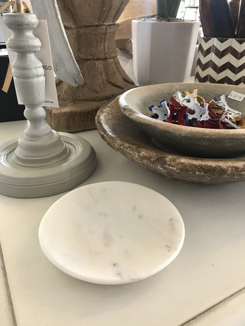 Round Marble Flat Soap/Ring Dish