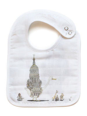 French Organic Cotton Bib - Swan by Atelier Choux (Small)