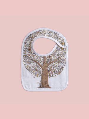 French Organic Cotton Bib - Tree of Life by Atelier Choux (Small)