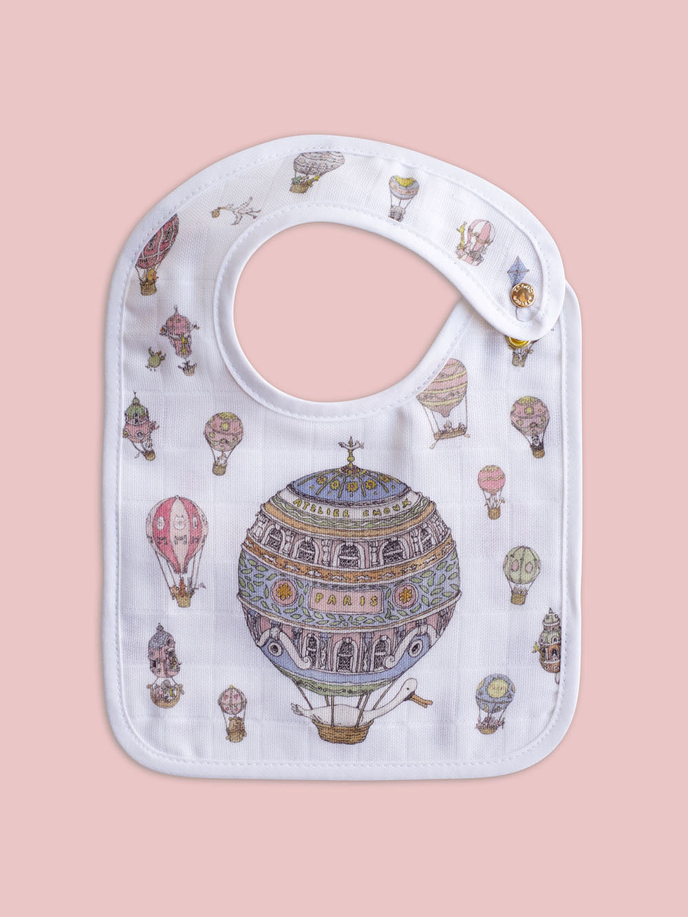 French Organic Cotton Bib - Hot Air Balloons by Atelier Choux (Small)