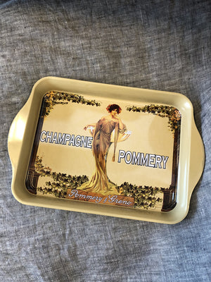 "Small Metal French Tray ""Champagne Pommery"""