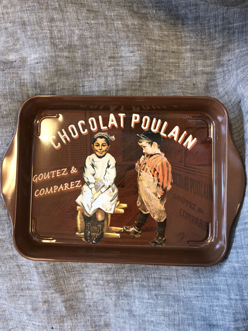 "Small Metal French Tray ""Chocolat Poulian"""