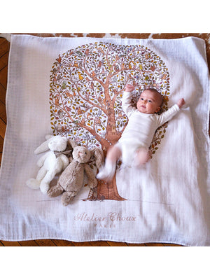 French Organic Cotton Baby Wrap - Tree of Life by Atelier Choux Paris (Large)