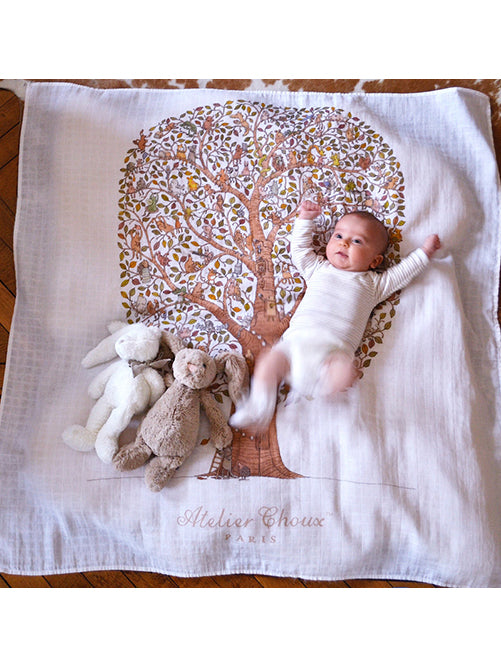 French Organic Cotton Baby Wrap - Tree of Life