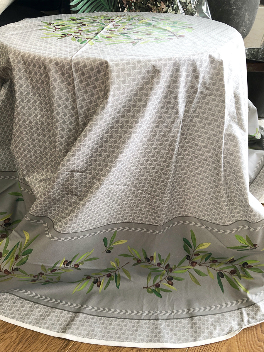 Nyons  Coated French Cotton Tablecloth 180cm - Grey