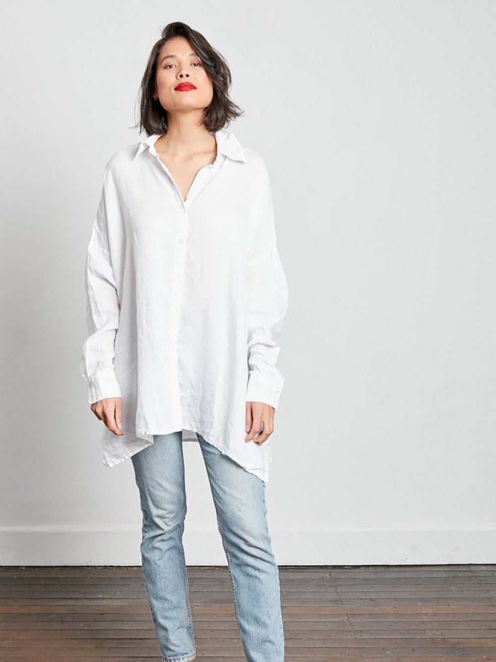 Oversized Linen Boyfriend Shirt - White