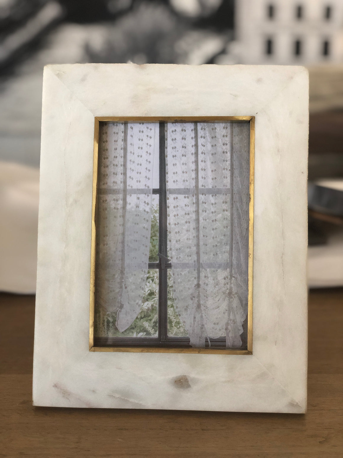 White Marble Frame with Brass detail