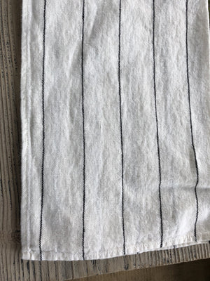 French Linen Tea Towel in White Black Stripe