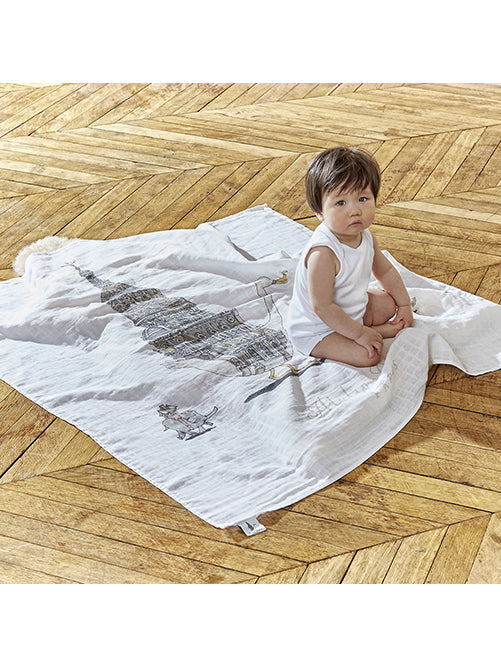 French Organic Cotton Baby Wrap - White Swan