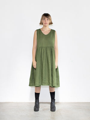 Sophie Linen Sleeveless Dress - Acid Green