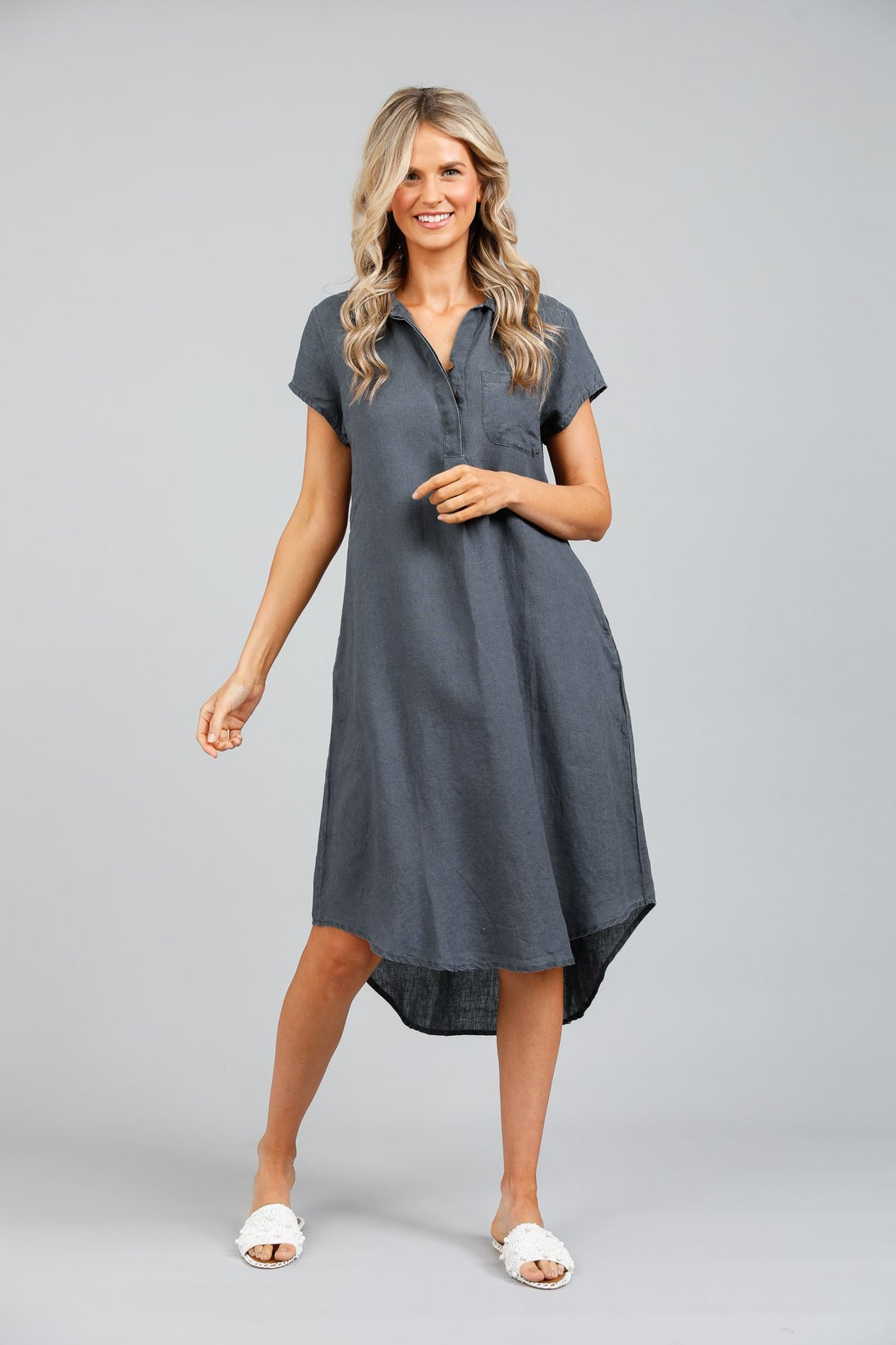 Holiday Ahoy Tunic Dress - Charcoal Grey