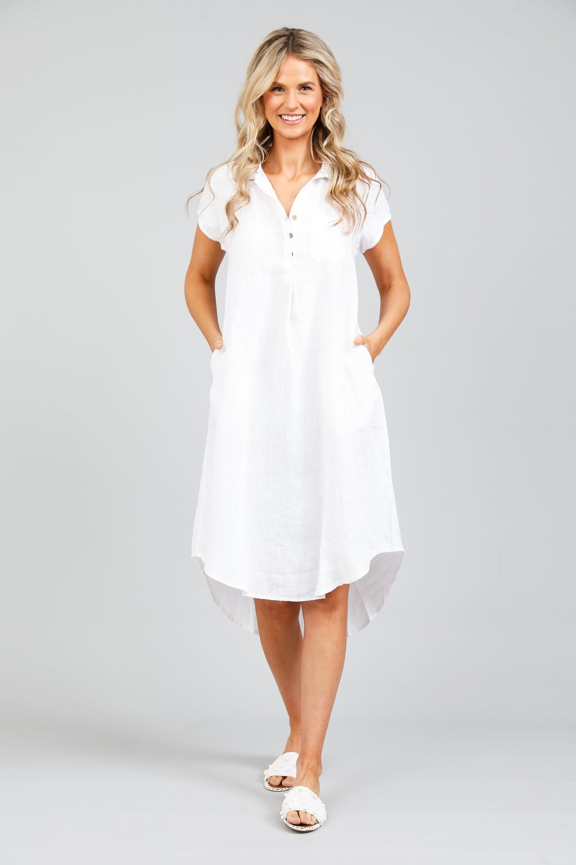 Holiday Ahoy Tunic Dress - White