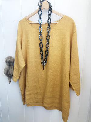 Audrey Loose Linen 3/4 Sleeve Top (Mustard)