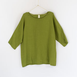 Audrey Loose Linen 3/4 Sleeve Top (Avocado)