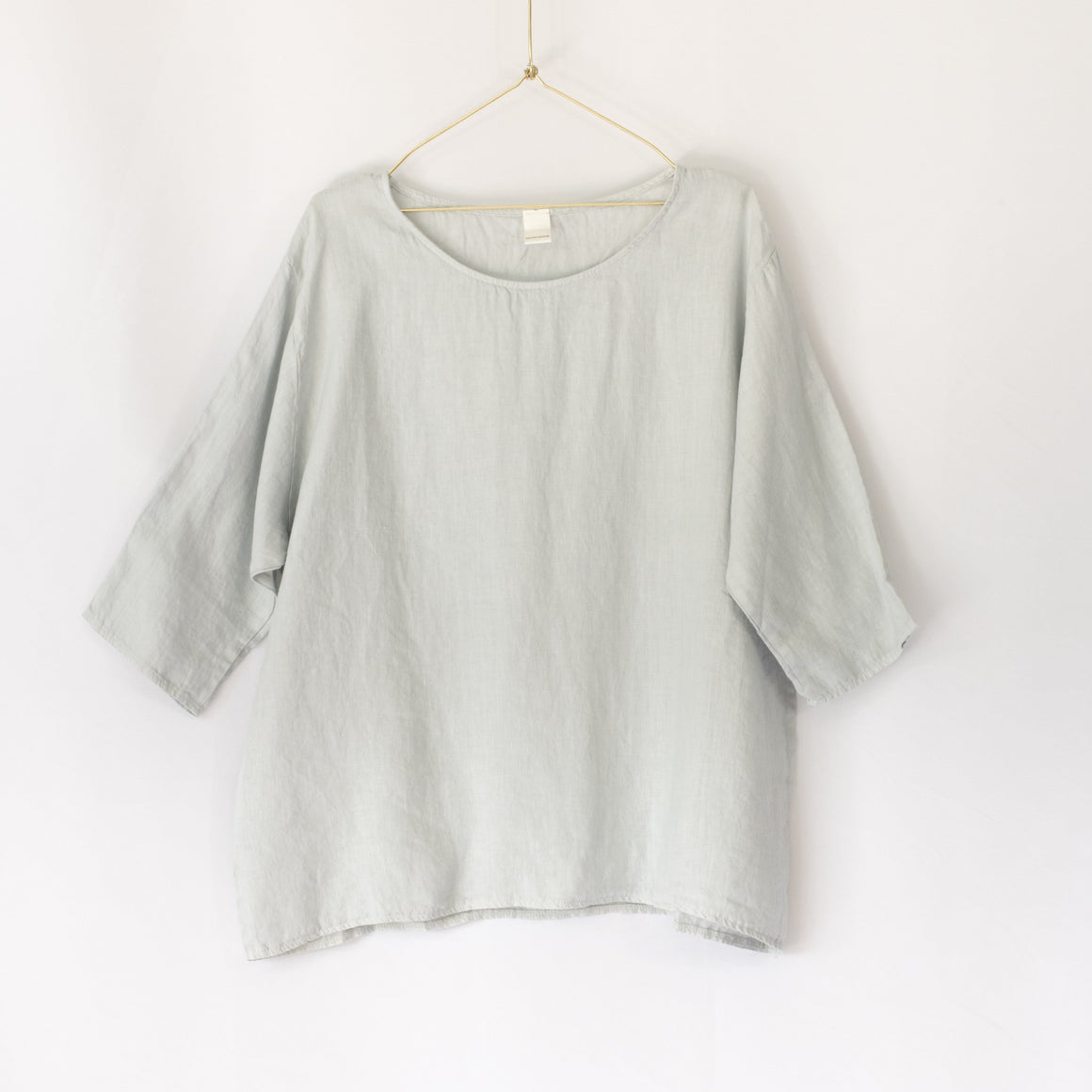 Audrey Loose Linen 3/4 Sleeve Top (Pearl Grey)