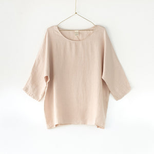 Audrey Loose Linen 3/4 Sleeve Top (Rose)