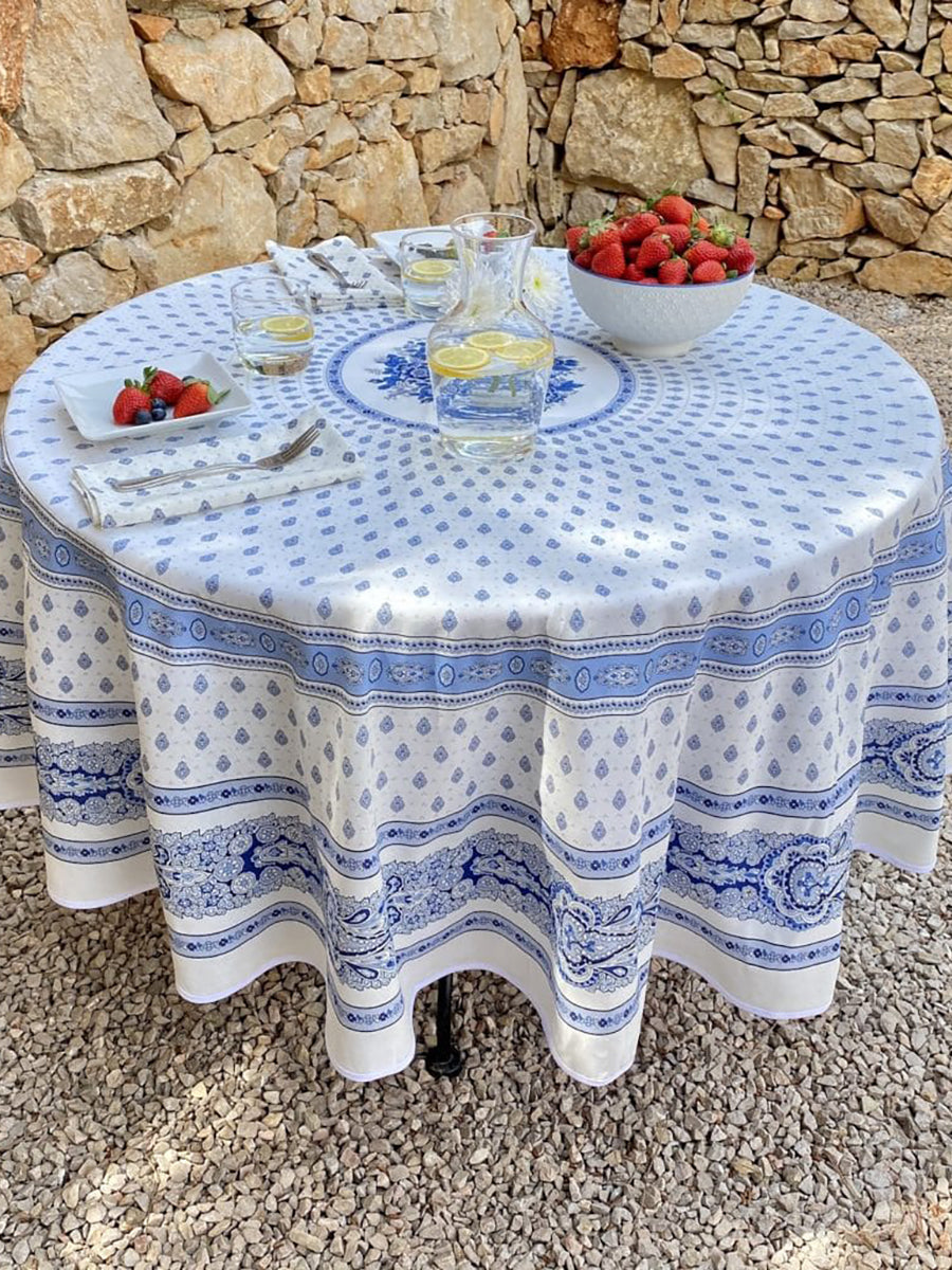 Bastide Blanc Bleu French Cotton Tablecloth Round 180cm - Blue and White