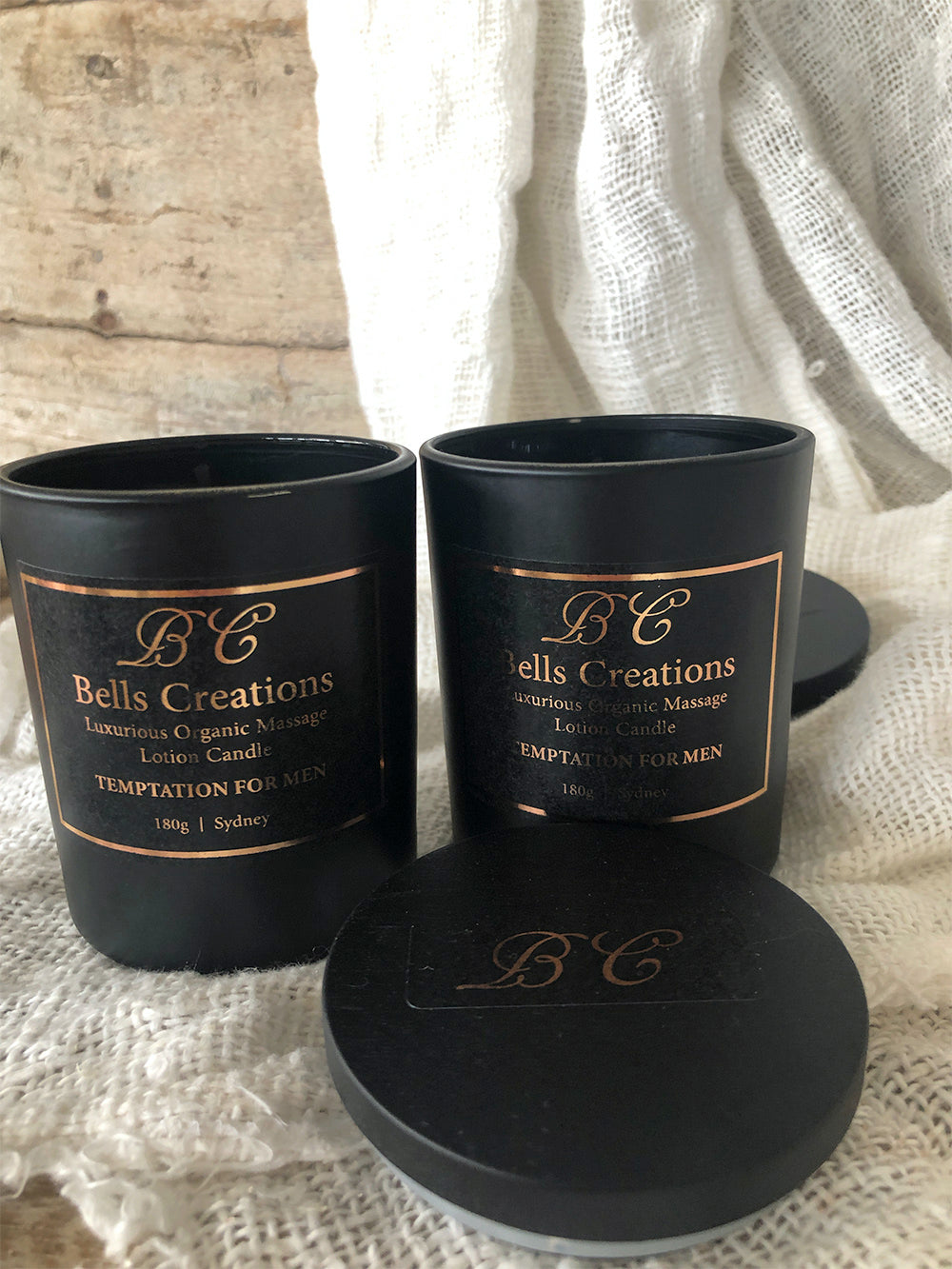 Temptation for Men Luxurious Organic Massage Lotion Candle
