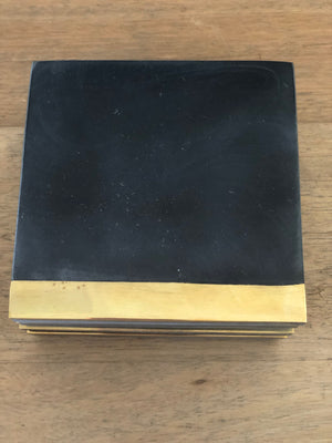 Square Marble Coasters Set of 4 - Black with brass strip