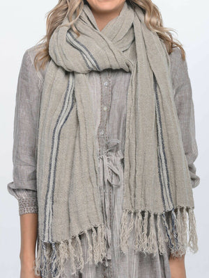 Blue Stripe Hand loomed Linen Scarf