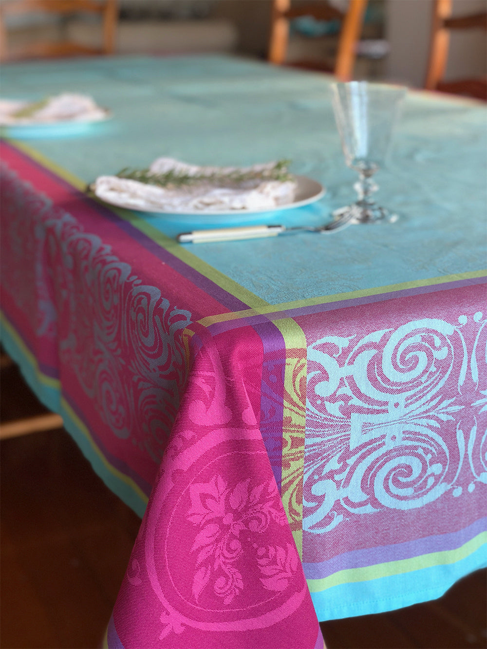 Renaissance Jacquard Coated French Cotton Tablecloth 160x300cm - Blue