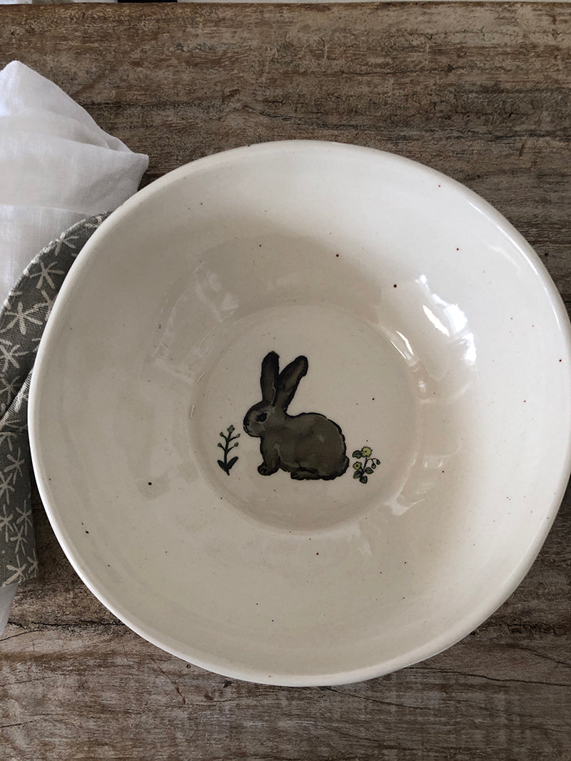 Ceramic bunny bowl