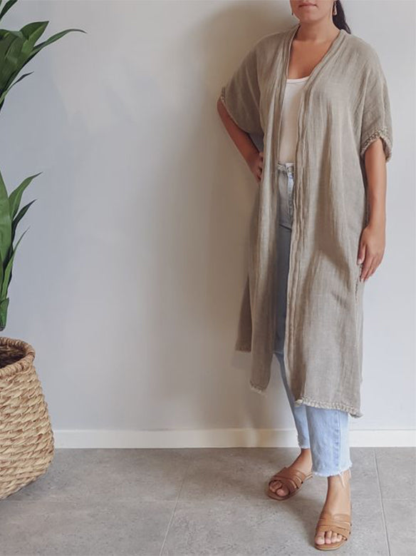 Carmen Linen Short Sleeve long Cardigan