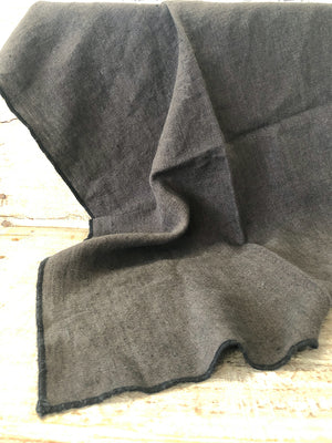 Dark Grey 100% French Stonewashed Linen Tea Towel with black edging