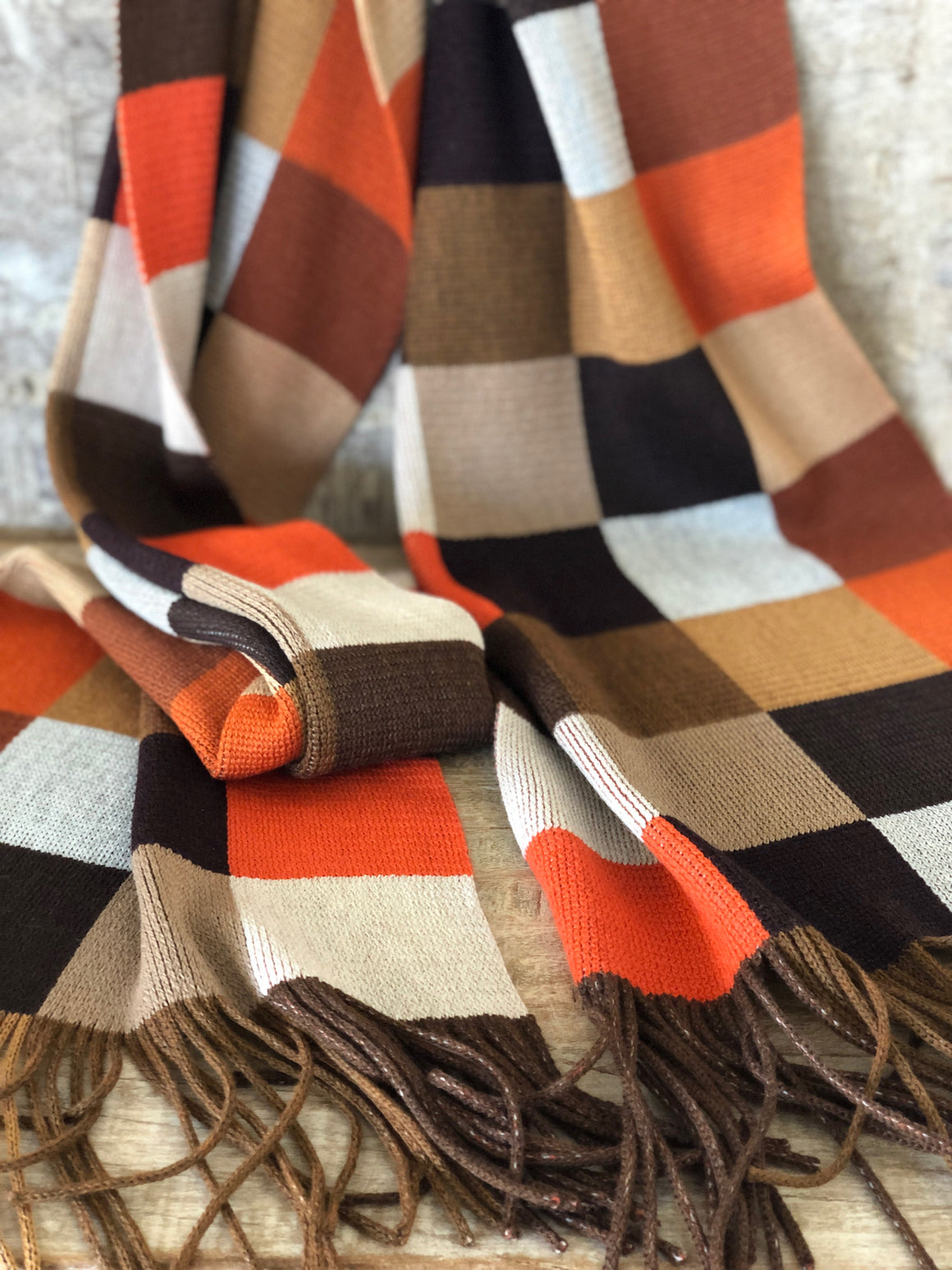 Daphne Autumn Check Wool Knit Scarf