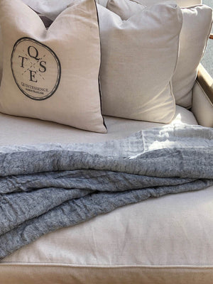 Linen Throw in Denim