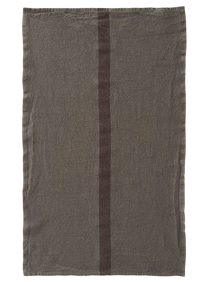 French Linen Tea Towel - Grey/Green with Black Stripe