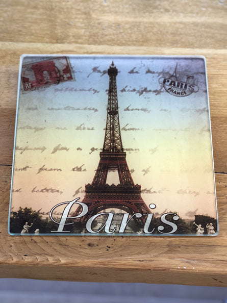 Eiffel Tower French Glass Trivet