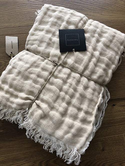 European Linen Double Sided Throw (Natural/Cream)