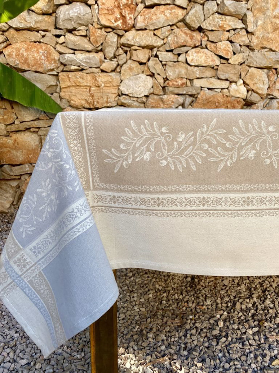 Eze Perle Jacquard Coated French Cotton Tablecloth 150x250cm - Pearl