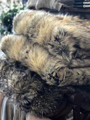 Egyptian Jackal Luxury Faux Fur Throw