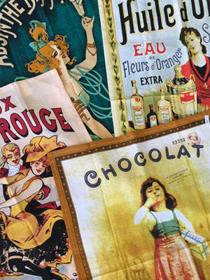 French Vintage Advertisement Cotton Tea Towels
