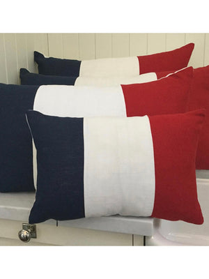 French Flag European Linen Cushion with Feather Insert
