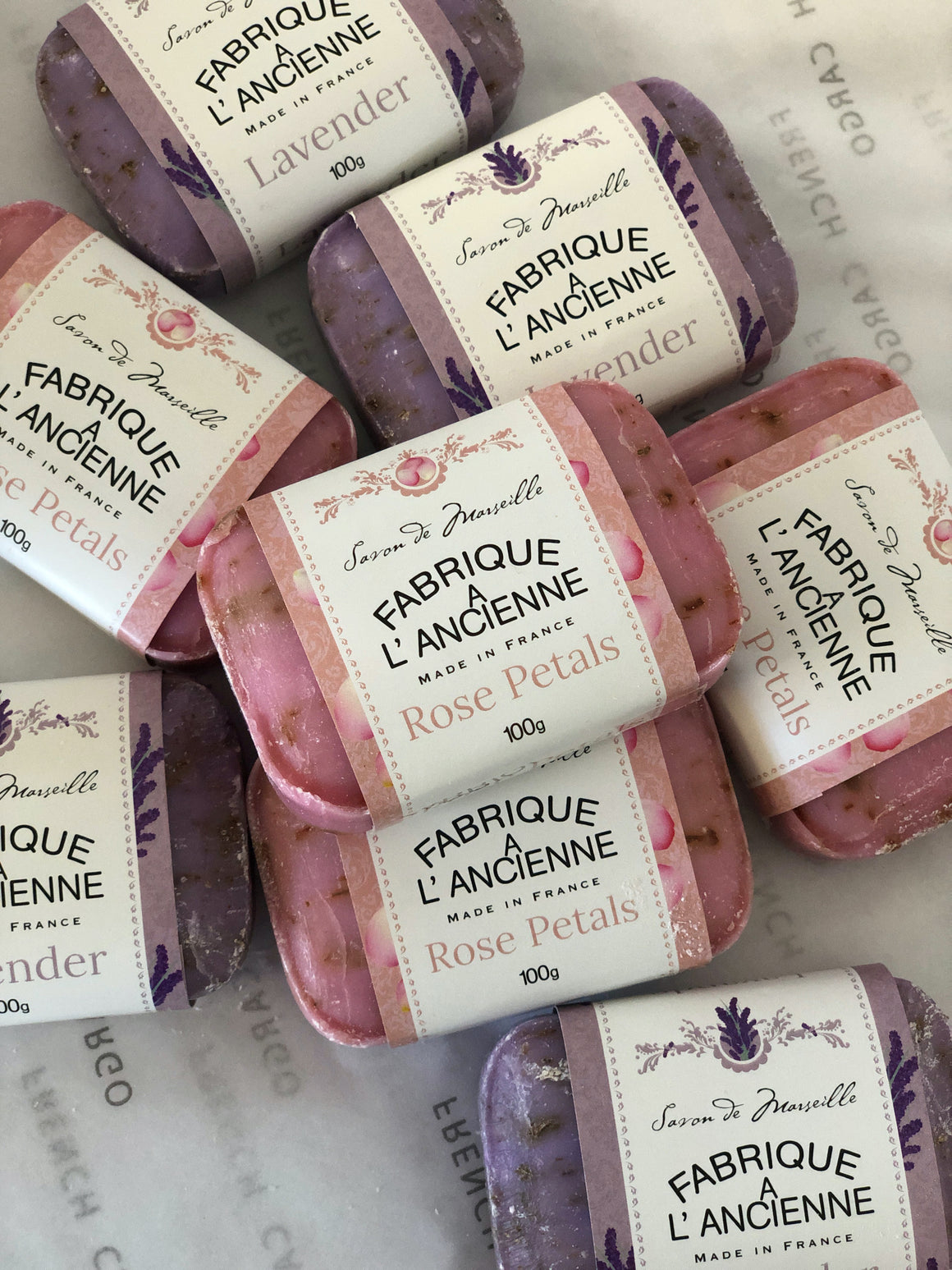 Savon de Marseille French Soap Bar by Fabrique A L'Ancienne - Lavender or Rose Petals