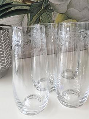 French Stemless Flute 230ml Etched Glasses - Floral design (Set of 4)