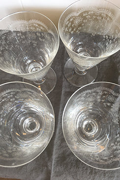 French Wine/Water 240ml Etched Glasses (Set of 4)
