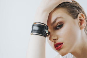 Greek Leather Bracelet/Cuff- Black