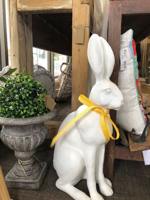 Harold the Extra-large Bunny Rabbit Ceramic Figurine (white)