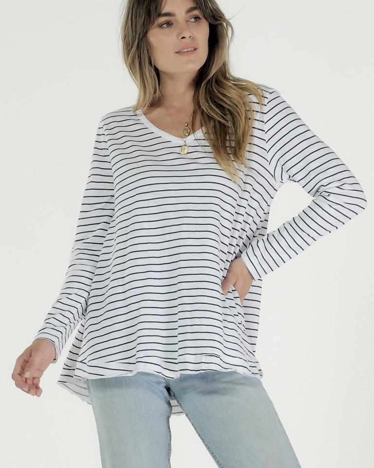 Harper Long Sleeve Shirt White Indigo Stripe