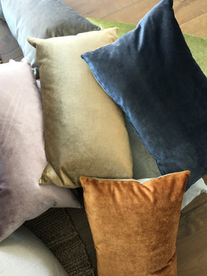 IOSIS French Velvet and Linen Cushion in Khaki