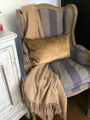IOSIS French Velvet and Linen Cushion in Daim