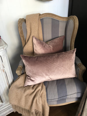 IOSIS French Velvet and Linen Cushion in Peacock Blue
