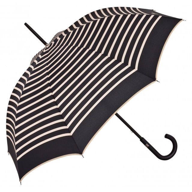 Jean Paul Gaultier Black with Cream Stripe French Umbrella