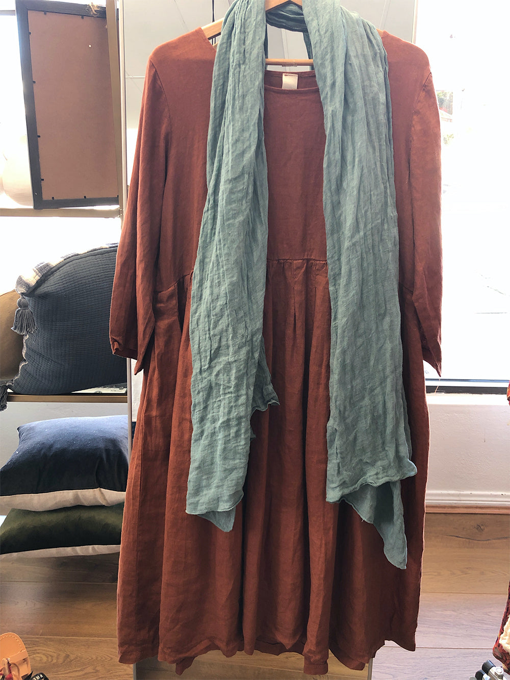 Journee Loose Fit Linen Dress (Rust)